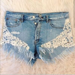 We the Free Distressed Lace Denim shorts- 31